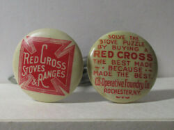 Antique Celluloid Buttons Red Cross Stoves Magic Trick Bent Nails Puzzle 2347