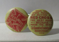 Antique Celluloid Buttons Red Cross Stoves Magic Trick Bent Nails Puzzle 2348