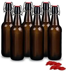 16 Oz Amber Glass Beer Bottles For Home Brewing With Flip Caps Case Of 6