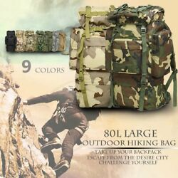 80l Outdoor Military Tactical Backpack Molle Travel Camping Trekking Rucksackbag