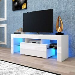 Tv Stand With Led Light High Gloss Tv Cabinet Console Media Center For 55in Tv