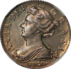 Great Britain 1703-vigo Anne Silver Sixpence Ngc Ms-62 Undergraded