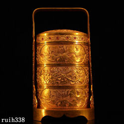 China Qing Dynasty Pure Copper Gilt Hand Carved Set Gemstone The Gift Box