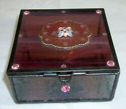 Bejewled Pink Glass Trinket Box with Mirror 4quot; x 4quot; x 2quot;