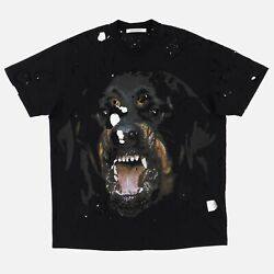 Givenchy 1 Of 1 Black Destroyed Rottweiler T-shirt   Size M Oversized Fit Fw16