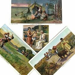 Victorian Trade Card Dresden Lot German Gypsies Country Greek Circus Lot Of 4