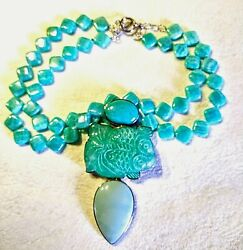 Vintage Amy Kahn Russell 1960s Carved Agate And Turquoise Sterling Silver Pndt