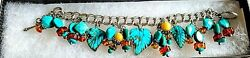 Sterling Silver Amy Kahn Russell Turquoise And Amber Charm Bracelet With Toggle