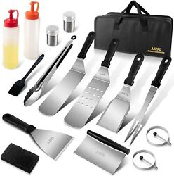 16pcs Griddle Accessories Kit Flat Top Grill Stainless Steel Bbq Tool Set W/ Bag