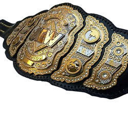 New Aew Championship Belt Replica, 4 Layer, 4mm In Zinc Plate, Cow Leather