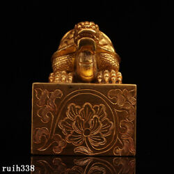 Exquisite China Antique Pure Copper Gilt Hand Carved Dragon Turtle Seal