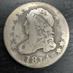 1814 Capped Bust Dime Statesof Very Good Vg/f Details Cleaned/rev Damage Jr-5