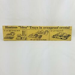 Wood Display Sign Advertisement Oven Proof Hostess Crystal Tray Vtg