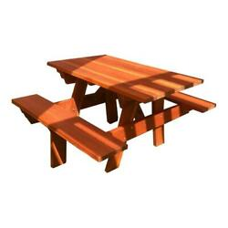 Best Redwood 48 Square Corner Wood Picnic Table With Attached Bench In Natural