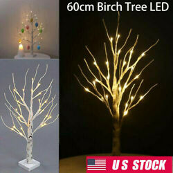 60Cm White Easter Birch Tree Led Light Up Twig Tree Hanging Eggs Decor Home USA