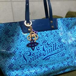 Used Louis Vuitton Cosmic Blossom Beach Bag Blue Gm Size With Key Charm