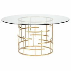 Maklaine 59 Round Glass Top Metal Dining Table In Gold