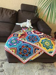 Wool Persian Tiles Hand Crocheted Blanket/ Cover/ Plaid/ Throw