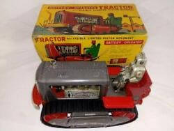 Vintage Nomura Toy Battery Operated Tractor Tin Plate Rare