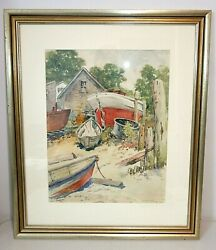 Victor Perard Provincetown Boats Watercolor Painting, C.1940 Cape Cod Nautical