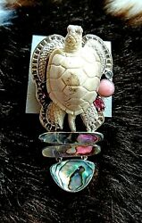 Amy Kahn Russell One Of A Kind Carved Sea Turtle Pendant Pin