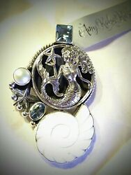 Amy Kahn Russell Mermaid Blue Topaz Pearl Starfish S/s One Of A Kind Pin/pendent