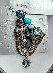 Amy Kahn Russell Vintage Sterling Silver Blue Topaz And Turquoise Pnt/pin