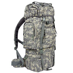80l Outdoor Military Tactical Backpack Molle Travel Camping Trekking Bag Acu