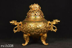 11.2 China Pure Copper Gilded With Gold Dragon Pattern Small Incense Burner