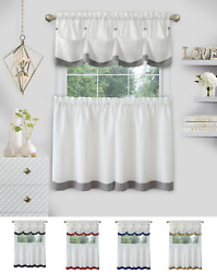 Country Farmhouse 3 Pc Solid Cafe Kitchen Curtain Tier And Tucked Valance Set