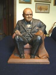 Winston S. Churchill Seated Statue By Tom Clark 1991 Signed Limited Edition