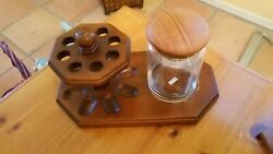 Vintage Wooden 8 Pipe Stand Holder With Clear Glass Tobacco Jar Humidor