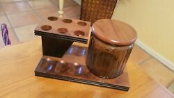 Vintage Wooden 6 Pipe Stand Holder With Colored Glass Tobacco Jar Humidor