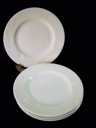 Four 8 Mikasa Classic Flair Lunch Salad Plates White China Embossed Calla Lily