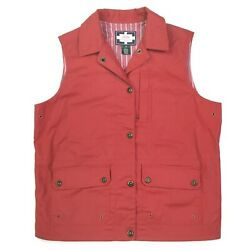 Vtg Naval Supply Company Womens Wax Coated Red Snap Vest Sz M