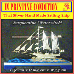 Thai Silver 1870and039s Barquentine And039waterwitchand039 Cargo Sailing Ship Hand Crafted Rare