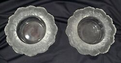 Set Of 2 Honfleur Frosted Geranium French Crystal Glass Wine Bottle Coasters