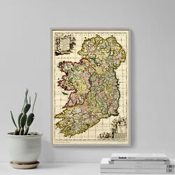 Vintage Map Of Ireland From 1710 Photo Print Poster Gift Old Ancient Historic