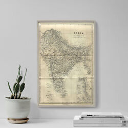 Vintage Map Of India From 1882 Photo Print Poster Gift Old Ancient Historic