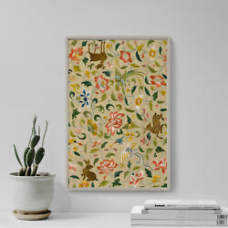 Textile With Animals Birds And Flowers 14th Century - Painting Poster Art Print