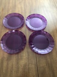 Tupperware Purple Ice Prisms Plates Luncheon Snack 8 Round 4 Piece Set Used