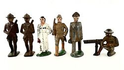 Vintage Barclay Manoil Wwi Army Military Lead Toy Soldiers Lot Of 6