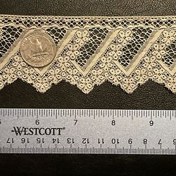 French Antique 19thc Doll Scale Cream Cotton Lace - Bridal - 57inx1.5in