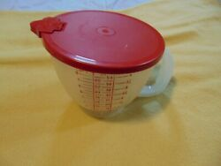 Tupperware Vintage Style Mix N Store Measuring Pitcher Maroon/red 4 Cups 1l
