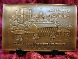 Penn Mutual Life Insurance Co Bronze Tablet Paperweight Souvenir Building