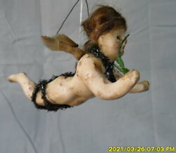 Antique German Wax Over Composition Christmas Angel Ornament-spun Glass Wings