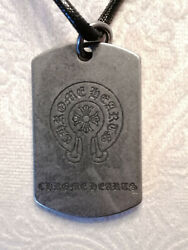 Biker Dog Tag Leather And Pewter Necklace Unisex Ch Style - Size 22