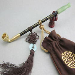 Chinese Long Stem Tobacco Smoking Pipes Wooden Jade Cigarette Holder Pipe