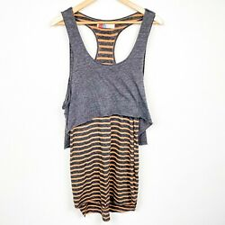 Free People Beach Striped Layered Tank Racer Back Dress Side Slits Size Small $24.00