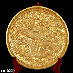 7 China Tang Dynasty Pure Copper Gold Hand Carved Two Dragon Pattern Plate